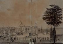 1974-1055 Westelijk deel van de Blaak tussen Vismarkt op de voorgrond en Wolfshoek met Lutherse kerk aan de overzijde. ...
