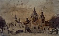 1974-1834 Kasteel en kerk te Hillegersberg aan de Kerkstraat, in 1343.