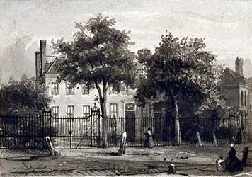 1974-1847 Het huis Ottoburg aan de Herenstraat te Rijswijk, waarin de dichter Tollens van 1846 tot zijn dood in 1856 woonde.