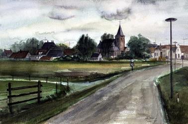 1975-1444 De Harreweg en de Nederlandse Hervormde kerk te Kethel.