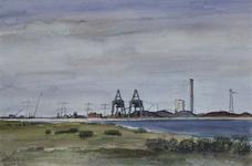 1975-1445 Overslagbedrijf en Energiecentrale G.E.B. op de Maasvlakte.