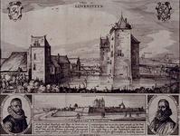 1975-1447 Rombout Hogerbeetz en Hugo de Groot worden gevangen gezet in het huis Loevestein, mei 1619. Bovenste prent ...