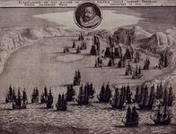 1975-1450-1 1628Afbeelding van de Nederlandse en Spaanse vloot in de Baai van Matansas (Cuba). Borstbeeld van Piet Heyn ...