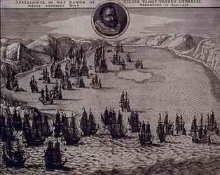 1975-1450-2 1628Afbeelding van de Nederlandse en Spaanse vloot in de Baai van Matansas (Cuba). Borstbeeld van Piet Heyn ...