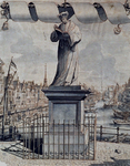 1975-1451 Standbeeld van Erasmus op de Grotemarkt. Op de achtergrond het Steiger.