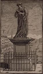 1975-2177 Het standbeeld van Erasmus op de Grotemarkt. Op de achtergrond de Steigersgracht, links van het beeld de ...