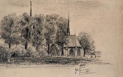 1975-298 De Nederlands Hervormde Kerk te IJsselmonde, gezien vanuit het zuiden.