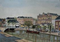 1975-609 Schie met de Heulbrug gezien vanuit het huis van de schilder, Schiekade westzijde nummer 11. Links huizenaan ...