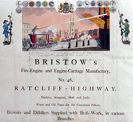 1976-1 Reclameplaat van Bristow's met de afbeelding van brandblussing te Cornhill 25 maart 1748. Aan de bovenrand ...