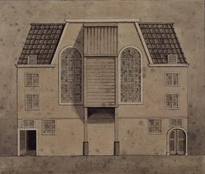 1976-776 De voorgevel van de Remonstrantse Kerk aan de Vissersdijk.