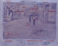 1977-1001 Café en het eethuisjes voor gastarbeidiers in de Schietbaanstraat. Rechts de Bajonetstraat. In het midden ...