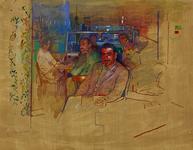 1977-997 Interieur van het Turkse café Asya lokali in de Schietbaanstraat. Midden voor, aan een tafel gezeten, Fahri Agirlar.