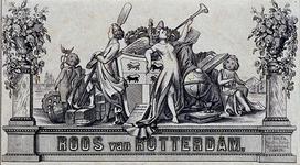1978-562-3 Omslag (envelop) met de titel onder een symbolische voorstelling van figuren en zaken van Rotterdam.