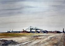 1980-3067 Missouriweg. Verenigd ertsoverslagbedrijf Maasvlakte uit noordoostelijke richting. Links een ertstanker in de ...
