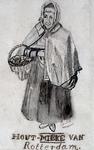 1981-1504 Oude vrouw, waarschijnlijk een verkoopster van aanmaakhout.