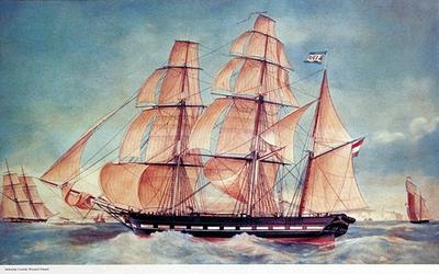 1981-374 Barksschip Cornelis Wernard Eduard, het eerste schip van de rederij Ruys en Van Ulphen. Het zeilschip varend ...