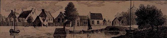 1981-412 Gezicht op de Hoogvlietsehaven te Hoogvliet. (voorstelling volgens een aquarel op nagedachtenis van ds Thomas ...