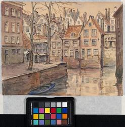 1982-2234 Hoekje van het Groenendaal en de gracht in het oostelijk deel. Rechts de westelijke gevel van een gebouw aan ...