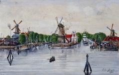 1982-262 Molens te Delfshaven in de omgeving van de Middenkous. Op de voorgrond v.l.n.r.: Het Vertrouwen, De ...
