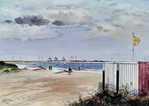 1982-3242 Gezicht op de Oostvoornse Meer, uit het zuidoostelijke richting. Op de achtergrond het Verenigd ...
