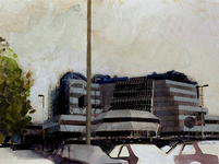 1982-3261 Een nieuwe Centrale Bibliotheek in aanbouw op de Hoogstraat nummer 119, uit westelijke richting, vanaf de ...
