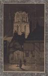1982-4593 De Meent met de toren van de Sint Laurenskerk verlicht, uit het noordwesten.