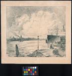 1983-1131 Gezicht op de Nieuwe Maas, ter hoogte van de Rijnhaven. Vanaf het 1e Katendrechtse Hoofd in de richting van ...