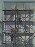 1983-1661 Muurschildering Blokkendoos ontwerp van Hans van der Plas. Drie man op steigers werkzaam aan de beschildering.