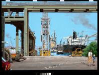 1983-3752 Het lossen van een graantanker aan een pier in de Botlek bij de Graan Elevator Maatschappij. Gezicht vanaf de ...
