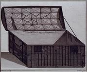 1983-3936 Afbeelding van de boekenkist, waarin Hugo de Groot uit slot Loevestein gevlucht zou zijn.