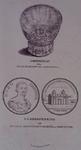 1983-3941 Afbeelding van het glas, dat door Hugo de Groot op Loevestein gebruikt zou zijn en van een gedenkpenning.