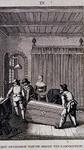 1983-3943 De boekenkist waarin Hugo de Groot uit slot Loevestein gevlucht zou zijn wordt uit een kamer gedragen.