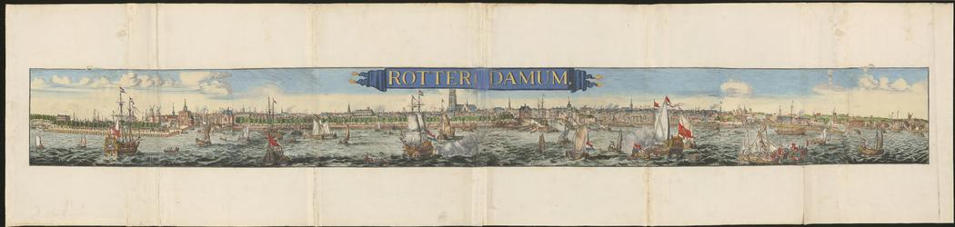 1983-4646-2 Gezicht op de stad over de Nieuwe Maas op 5 bladen. Links het Nieuwe Werk met het Pontegat en de nieuwe ...