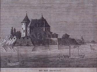 1984-11 Het kasteel Loevestein aan de rivierzijde.
