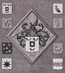 1984-12 Wapenbord van Hugo de Groot in de Nieuwe Kerk te Delft. Wapen met jaartal 1645 omringd door 8 wapens (8 ...
