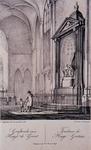 1984-14 Graftombe van Hugo de Groot en Tombeau de Hugo Grotius, met hek en bezoekers, te Delft.