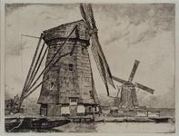 1984-190 Berkel en Rodenrijs - ZwethGroep van drie watermolens in een polderlandschap. Titel in handschrift: Molens ...