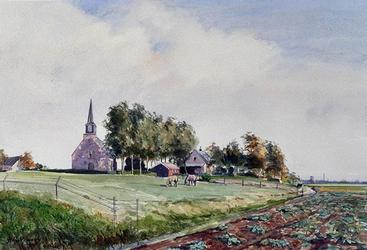 1984-2402 Gezicht op de Protestantse kerk aan de Kijfhoek, op de achtergrond Zwijndrecht.