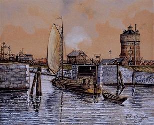 1985-1074 Schiemond. Toegang tot de haven van Delfshaven via de schutsluizen, binnenvarend binnenschip.