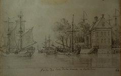 1985-1248 Wester Oude Hoofdpoort met Bolwerk vanaf het Oude Hoofd aan de oostzijde van de Oudehaven. Zeilschip verlaat ...