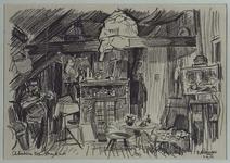 1985-1637 Het atelier van schilder en tekenaar Kees Strooband aan de Erasmusstraat.