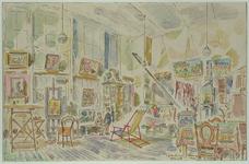 1985-1638 Het atelier van A.J.M. Weimar in een oud schoolgebouw aan de Prins Hendriklaan.