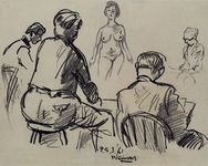 1985-1640 De schetsclub van oud-leerlingen van de Rotterdamse Academie voor Beeldende Kunst. Van links naar rechts: ...