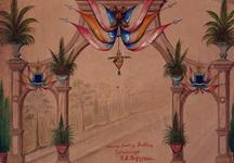 1986-1589 31 augustus - 6 september 1898Ontwerp voor een ereboog op de Parklaan ter gelegenheid van de Kroningsfeesten ...