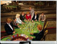 1986-2104 Interieur van het Casino Rotterdam in het Hiltonhotel aan het Weena. Spelers aan de roulettetafel.