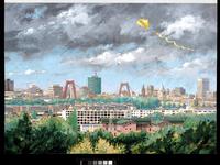 1986-2105 Panoramisch gezicht op de stad vanaf de Van Brienenoordbrug in de richting van het stadscentrum.