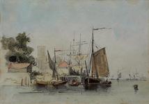 1986-959 Maasgezicht en Willemskade ter hoogte van de Veerhaven. Op de achtergrond de (vergrote) toren van de Grote of ...