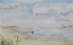 1987-1385 Uitzicht op het Brielse Meer, aan de horizon de Brielse Maasdam waar met behulp van kraanwerktuigen de ...
