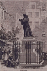1987-1673 Het standbeeld van Erasmus op de Grotemarkt. Marktscénes rondom het beeld.