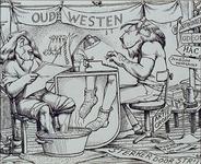 1987-2653-1 Tekeningevan Gerard Goosen welke hij in de preriode 1973-1976 maakte voor aktiegroep het Oude Westen.